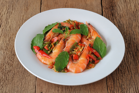 Thai food,stir fried with shrimp and basil(Pad Ka Prao Koong),homemade meal,Thai style serve with steamed rice