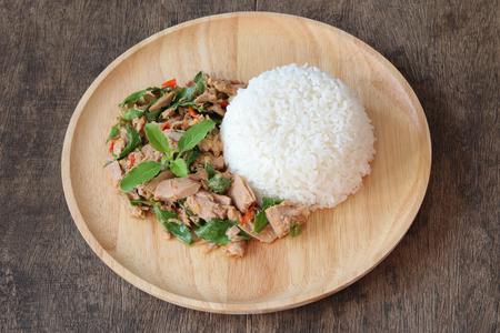 Thai food,stir fried with tuna and basil(Pad Ka Prao tuna),homemade meal,Thai style serve with steamed rice