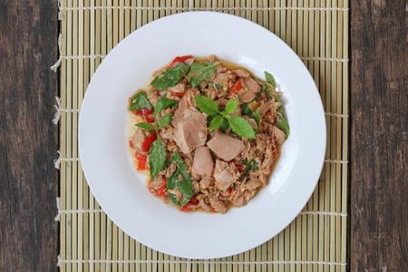 Thai food,stir fried with tuna and basil(Pad Ka Prao tuna)top view,homemade meal.