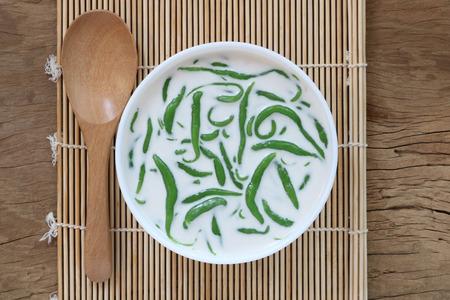 Thai dessert.Tapioca flour noodle in sweet coconut milk(Lod chong nam ka ti)