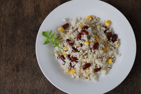 Fried rice with red bean,job's tears and corn top view Archivio Fotografico