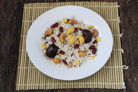 Fried rice grains.Homemade meal for good health Archivio Fotografico