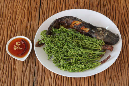 Thai food.Catfish grilled with boiled neem leaf and sweet sauce Archivio Fotografico