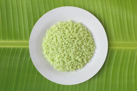 Pandan flavoured rice organic food for good heath on banana leaf top view