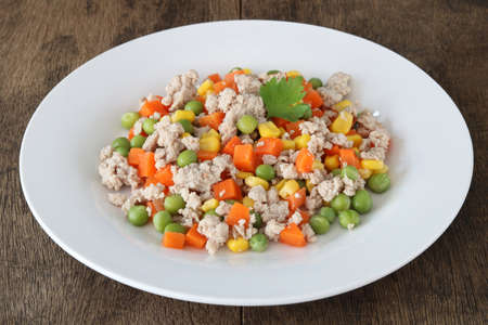 Minced pork salad with vegetables close up.Homemade meal for good health.