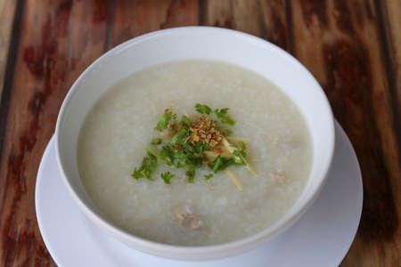 Rice porridge(Congee)with with minced pork Archivio Fotografico