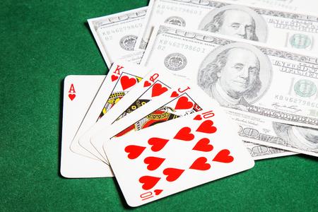Poker Tisch grüne Oberfläche Bild Nahaufnahme Standard-Bild