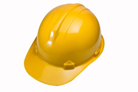 The safety hat yellow on white background have paths image Stock Photo
