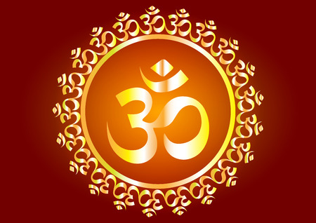 Hindu mantra writing Shree and Aum or Om vector design