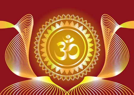"""Hindu-Mantra schreibt """"Shree"""" und """"Aum"""" oder """"Om"""" Vektor-Design"""