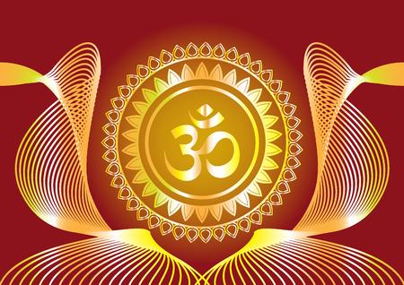 """Mantra hindú que escribe el diseño del vector """"Shree"""" y """"Aum"""" u """"Om"""""""