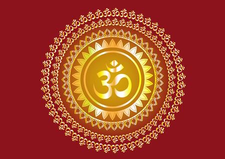 """""""Shree""""와 """"Aum""""또는 """"Om""""벡터 디자인을 쓰는 힌두교 만트라"""