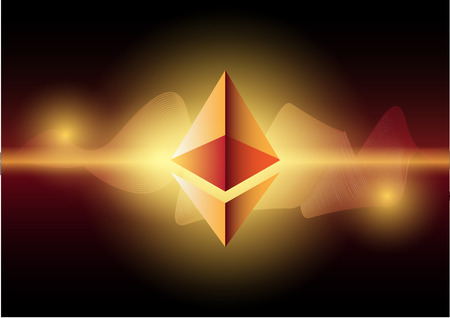 Ethereum symbols on abstract blue background. Competing cryptocurrencies concept.