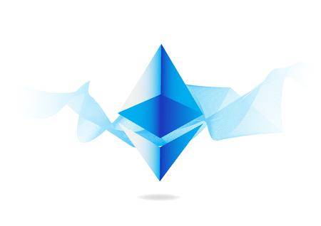 추상적 인 파란색 배경에 Ethereum 기호입니다. 경쟁 cryptocurrencies 개념입니다. 일러스트