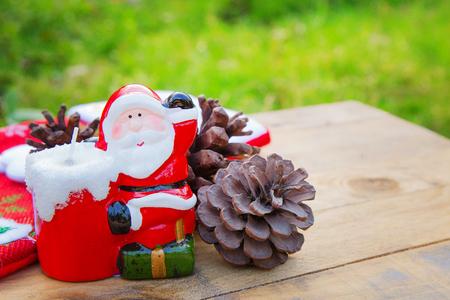 The Christmas Santa candle close up image background.