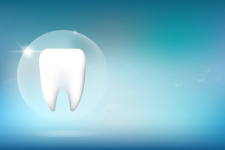 A Whitening tooth character illustration on blue background. Illustration
