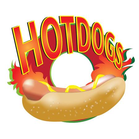 Hotdogs vector logo on white background. Stock Illustratie