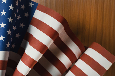 Veterans Day  concept united states of America flag on wood background.