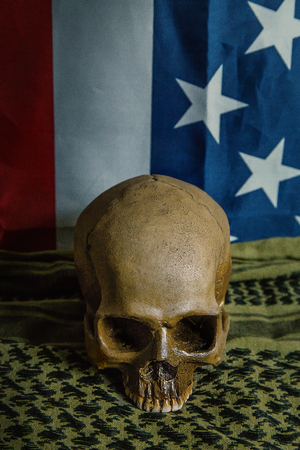 united states of America flag and Shemagh  and skull abstract background.