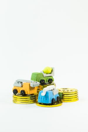 construction toy car on white background image.