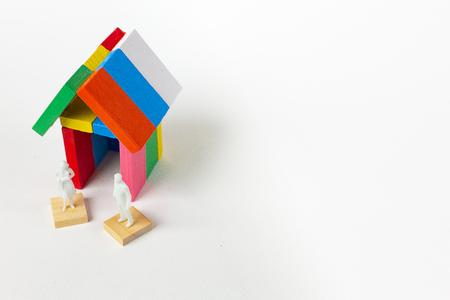 Domino multi color build home on white background.