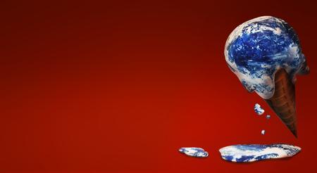Die Welteiscreme 3D-Rendering von Inhalten zur globalen Erwärmung.