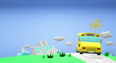 The 3d rendering school bus on road back to school content. Standard-Bild - 122658060