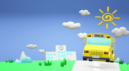 The 3d rendering school bus on road back to school content.