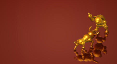 The 3d rendering bull and bear business content. 写真素材 - 122662172