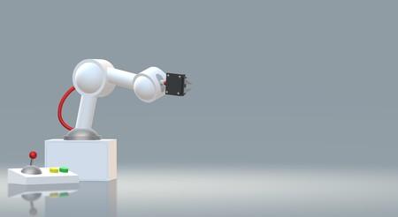 The robotic arm  3d rendering for industrial content. Archivio Fotografico