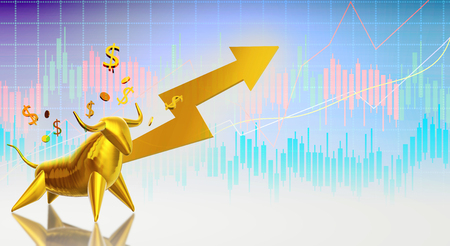 The 3d rendering gold bull for business content.