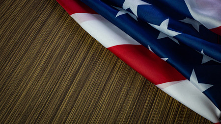 The American flag on wood  independence day content.