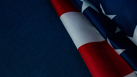 The American flag on blue  independence day content.