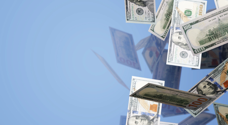 The 3d rendering Falling  100 dollar  business content. Stockfoto