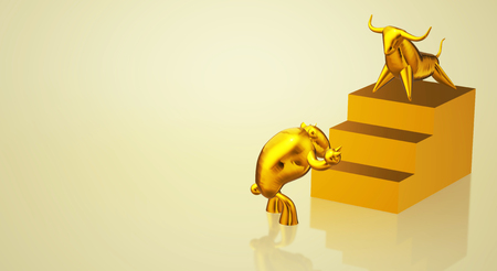 The 3d rendering gold bull and bear business content.