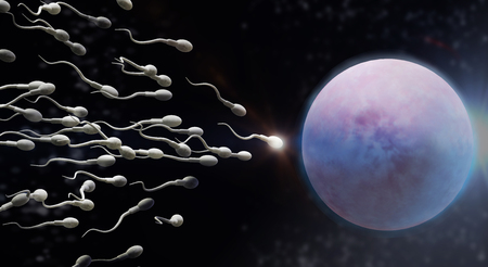 The 3d rendering Sperm and egg cell  science content.