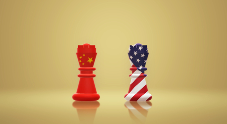 The 3d rendering  king chess China vs America Trade War concept.