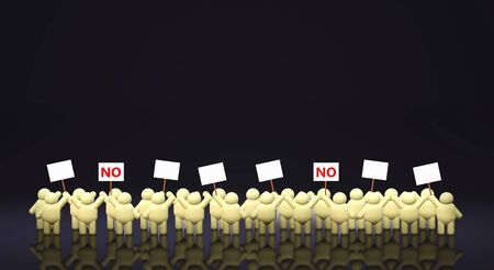 3d rendering people share a protest sign hold Mob concept. Banque d'images