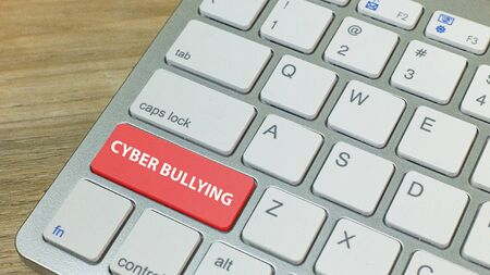 The cyber bullying red button on silver keyboard . Stock Photo