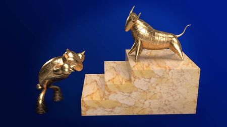 The bull bear gold 3d rendering for business content.