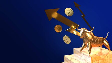 The bull  gold 3d rendering for business content.