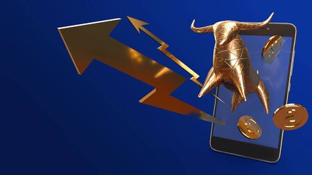The bull gold and mobile 3d rendering for business content.