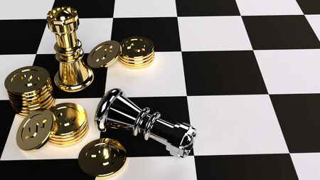 The chess and gold coin 3d rendering for business content.