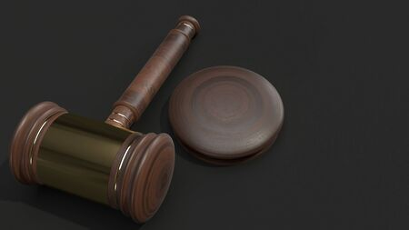 The hammer wood 3d rendering for law concept.
