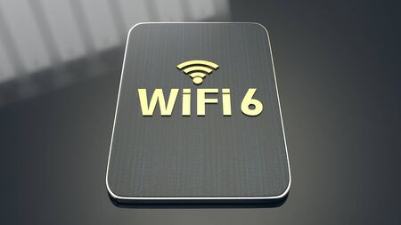 The 3D rendering  building on tablet for wifi 6 concept. Stock Photo