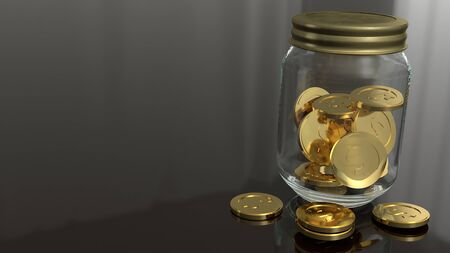 The jar and gold coins 3d rendering for business concept.