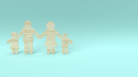 3d rendering  family group wood die cut for home concept.
