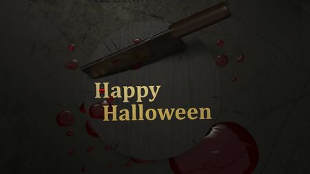 3d rendering cleaver knife and blood for halloween concept. 스톡 콘텐츠