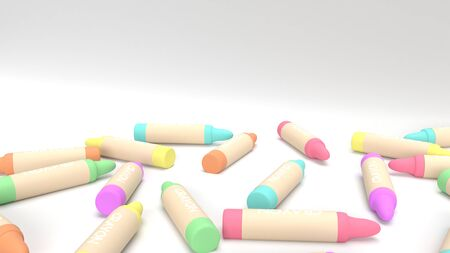 The 3d rendering crayons multicoloured for kid concept.