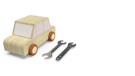 The car wood toy for car service concept  3d rendering image.